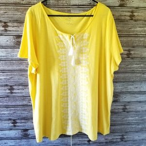 Talbots Short-sleeved Embroidered Top Size 2X